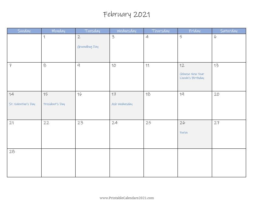 Printable Calendar February 2021 With Holidays Blank, Portrait, Landscape