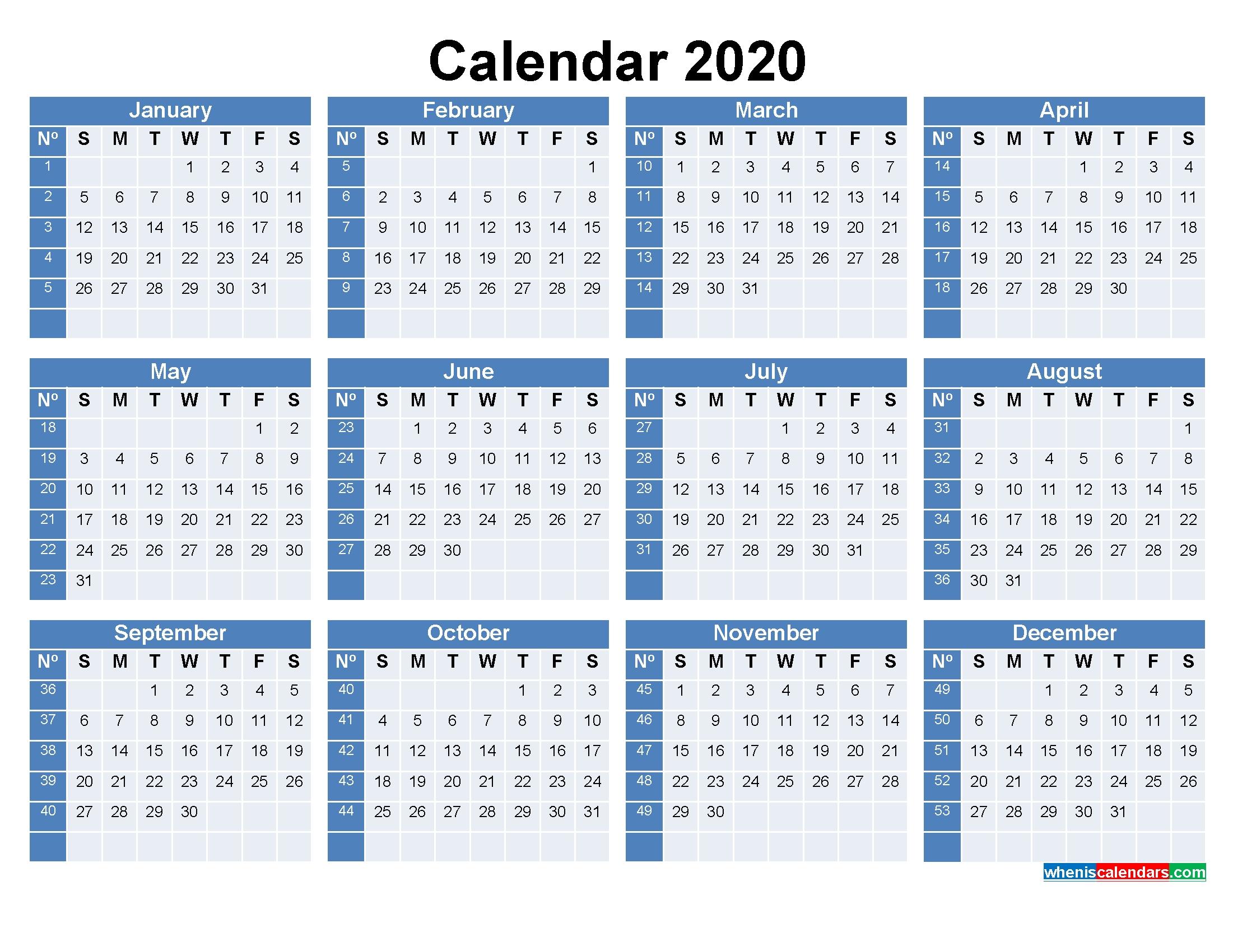 Printable Calendar With Week Numbers 2020 Word, Pdf - Free Printable 2020 Monthly Calendar With