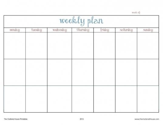 Printable Days Of The Week Calender | Printable Calendar Template 2020