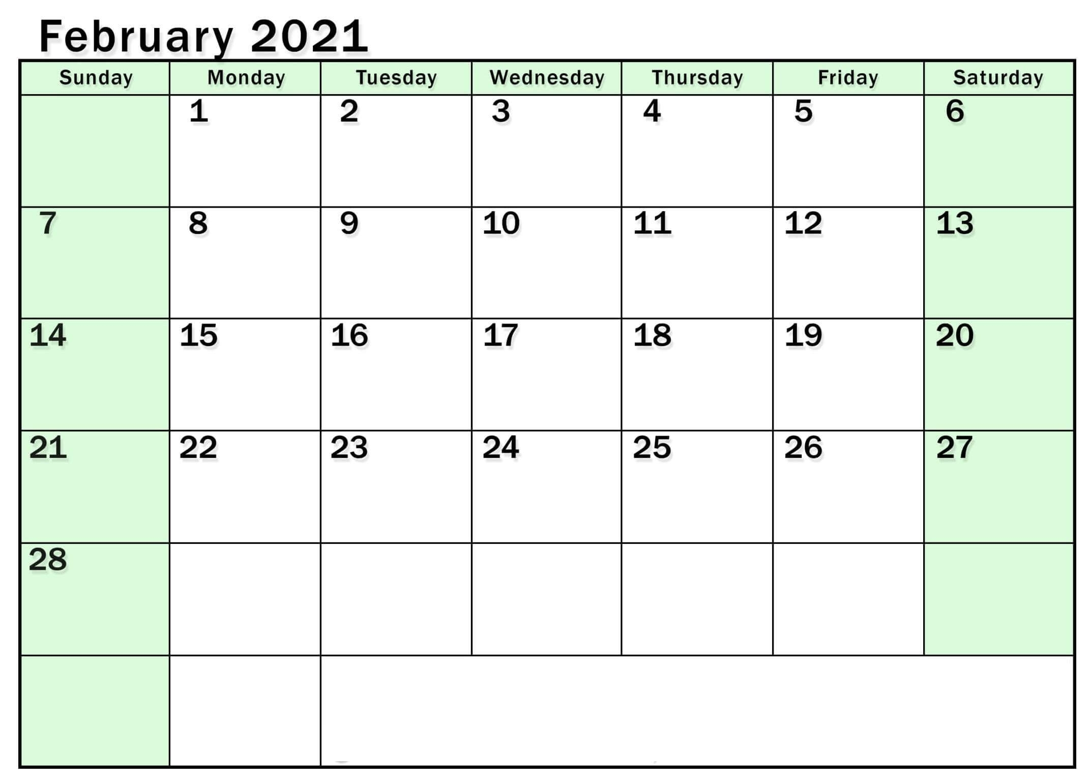 Printable February 2021 Calendar Excel With Notes - One Platform For Digital Solutions Printable