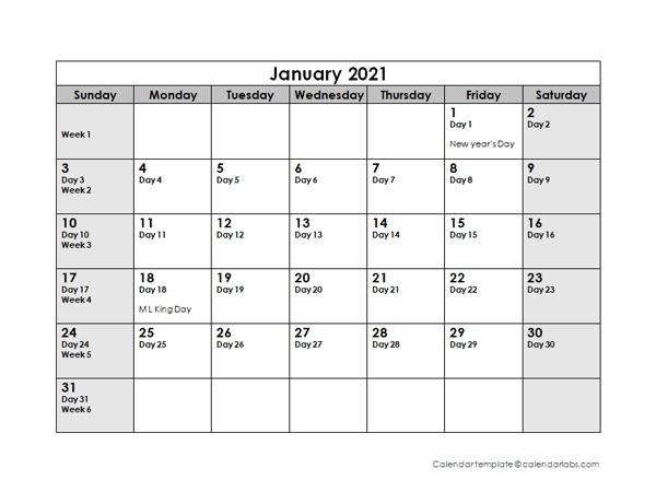Printable Julian Calendar 2021 - January 2021