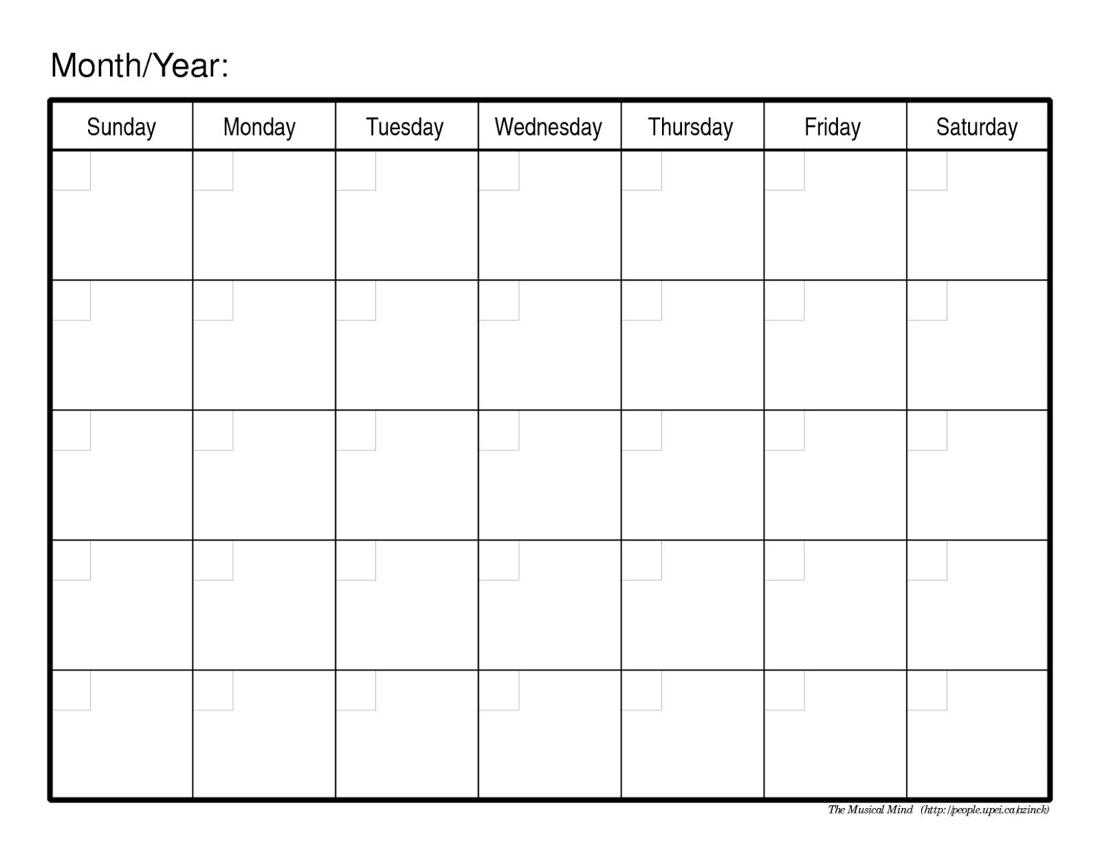 Printable Monthly Calendar Sunday To Saturday No Dates   Calendar Template Printable