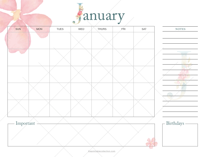 Printable Monthly Calendar With Watercolor Flowers {+ A Freebie} | The Printable Collection