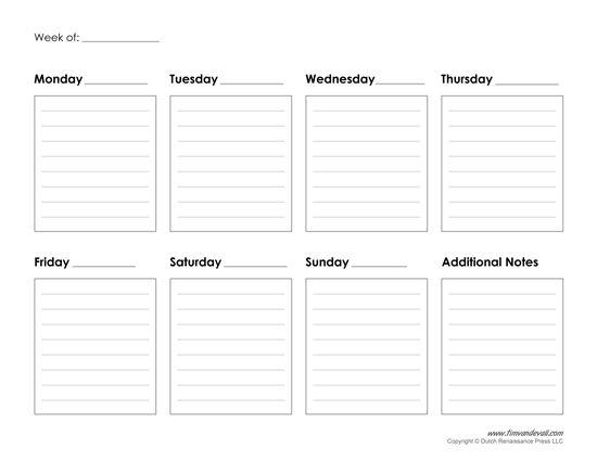 Printable Weekly Calendar Template - Free Blank Pdf   Weekly Calendar Printable, Weekly Planner