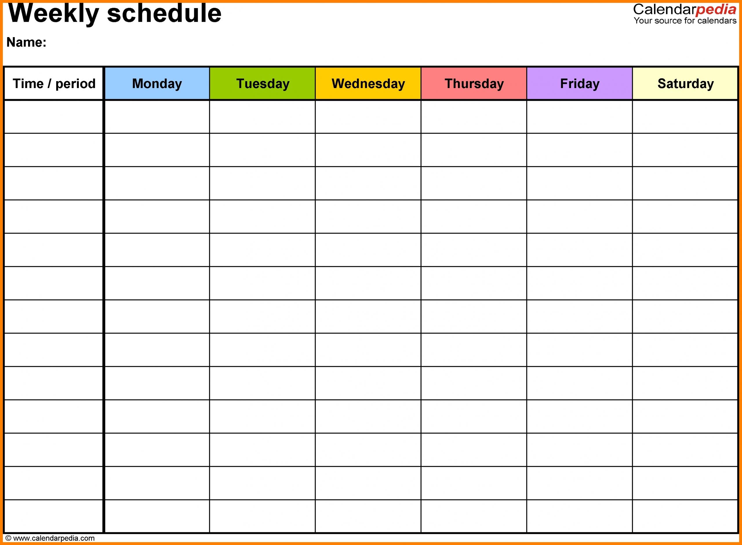 Printable Weekly Calendar With Time Slots - Calendar Inspiration Design