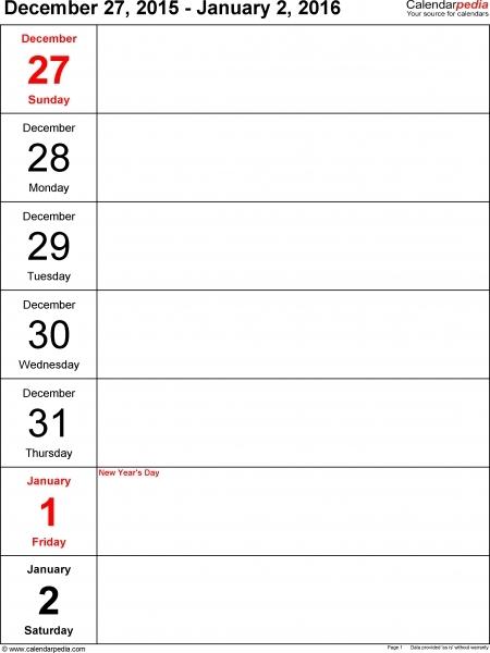 Printable Weekly Planner Calendars | Printable Calendar Template 2020