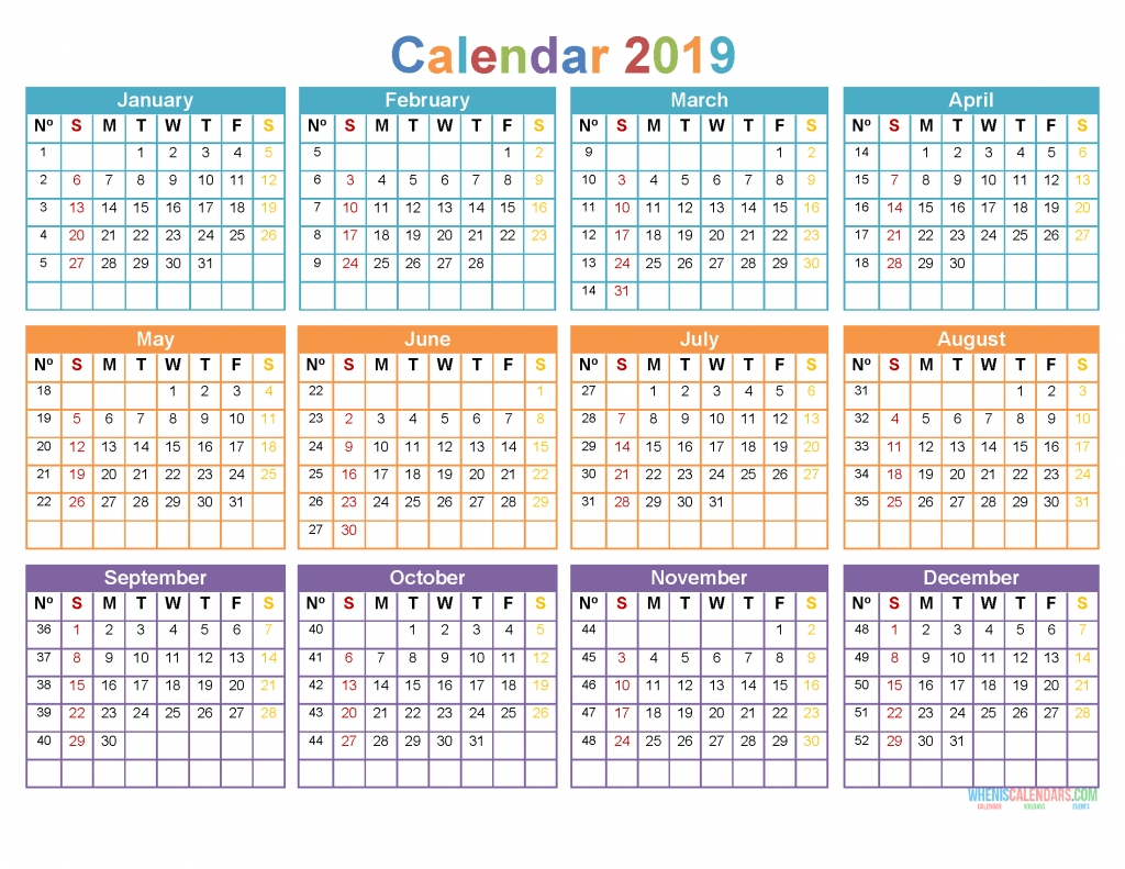 Printable Yearly Calendar 2019 12 Month On 1 Page, Sunday Starts - Free Printable 2020 Monthly