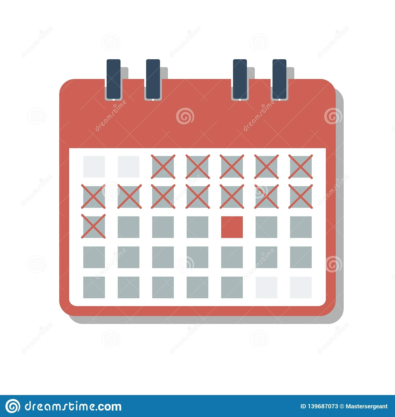 Red Calendar Grid With Cross Marked Days, Countdown Days Concept Stock Vector - Illustration Of