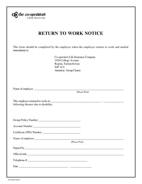 Return To Work Note Printable | Printable Calendar Template 2021