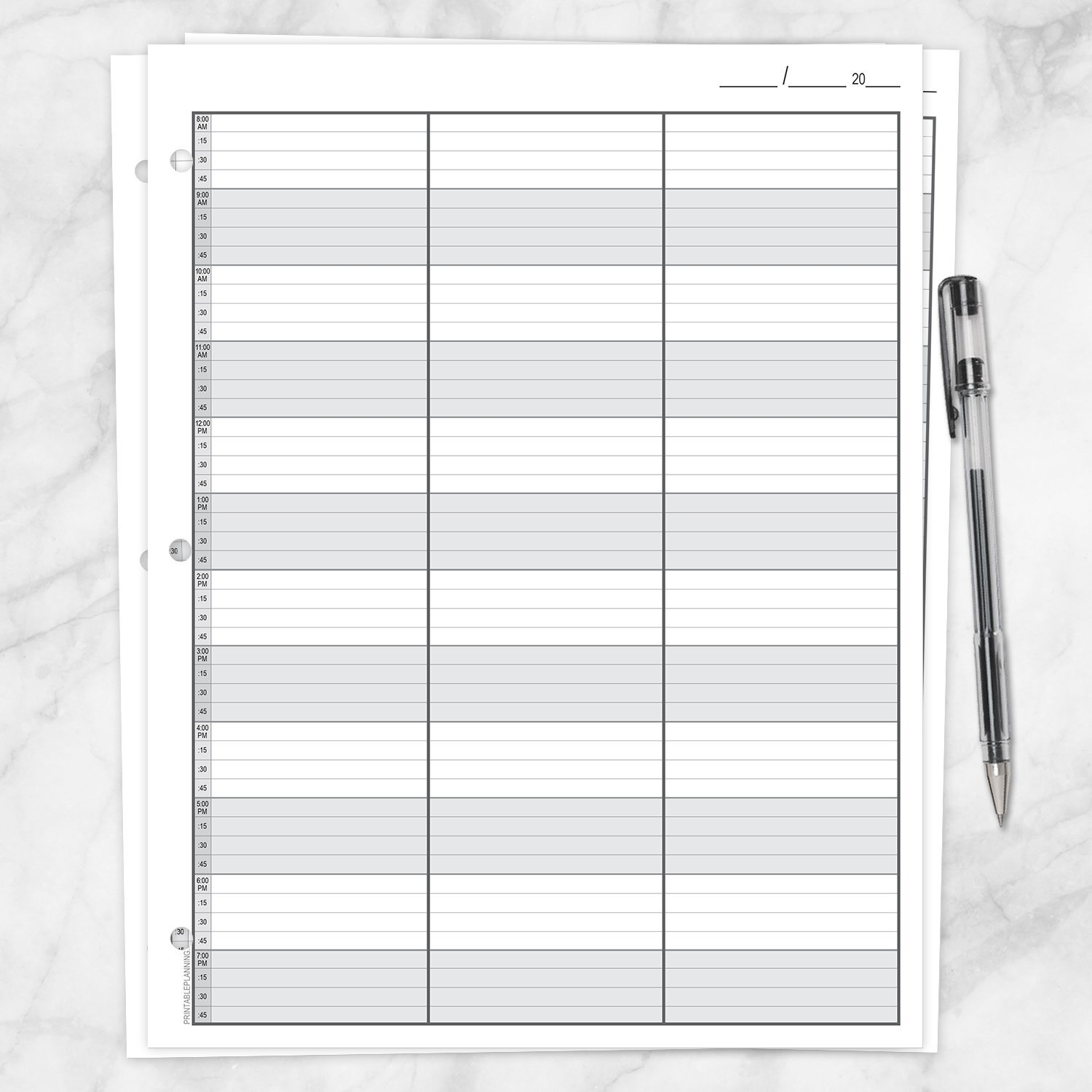 Schedule Sheet In 15 Minute Increments, Front And Back - Printable At Printable Planning For