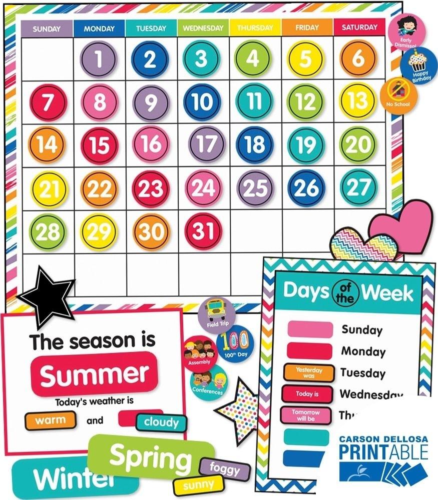 Schoolgirl Style Just Teach Calendar Printable Bulletin Board Set | Teaching, Calendar Board