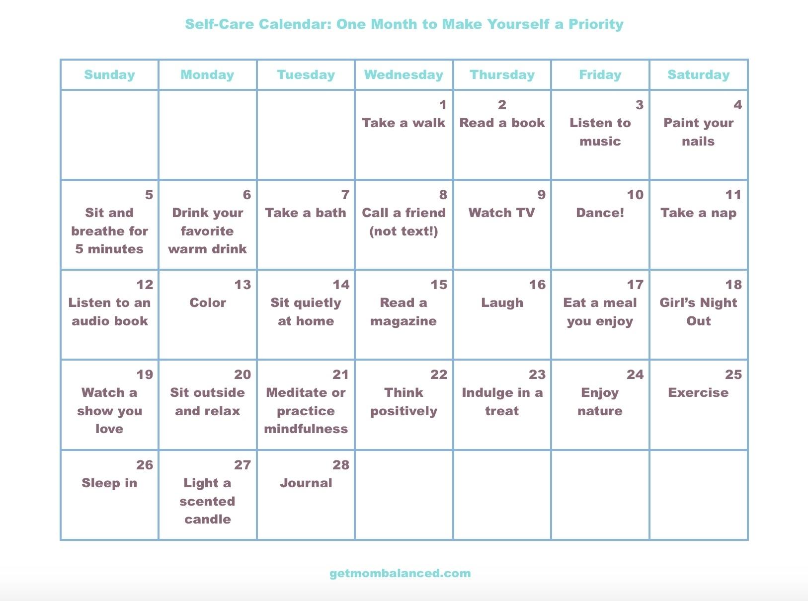 Self-Care Calendar For Busy Moms And Women - Get Mom Balanced
