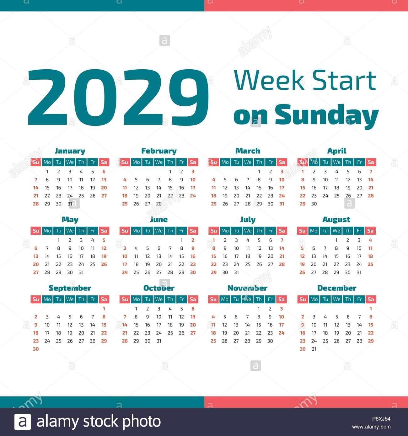 Simple 2029 Year Calendar, Week Starts On Sunday Stock Vector Art & Illustration, Vector Image
