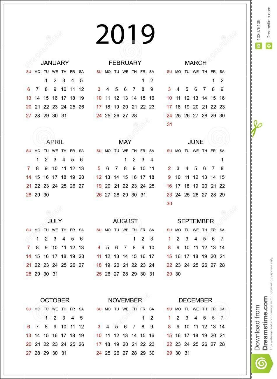 Simple Calendar For 2019 Year. Week Starts From Sunday. Flat Illustration Eps10 Stock