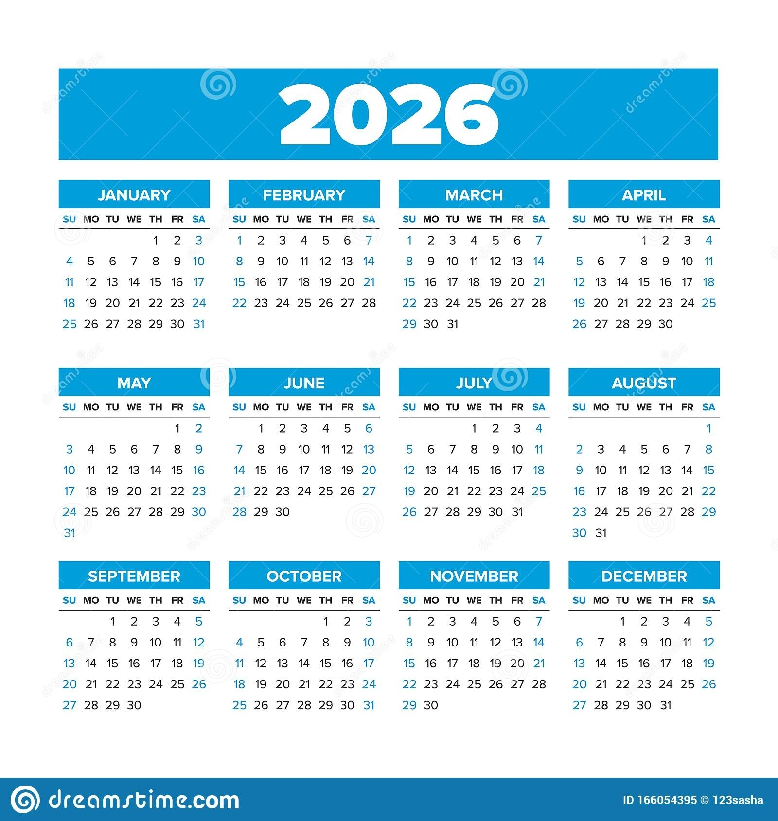 Simple Vector Calendar 2026. Weeks Start On Sunday Stock Vector - Illustration Of Year, English