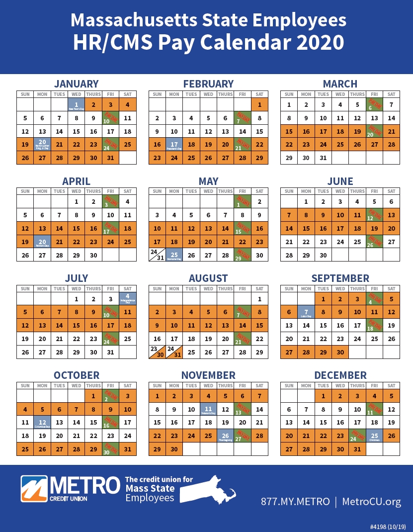 State Of Massachusetts Payroll 2020 & 2021 | Payroll Calendar