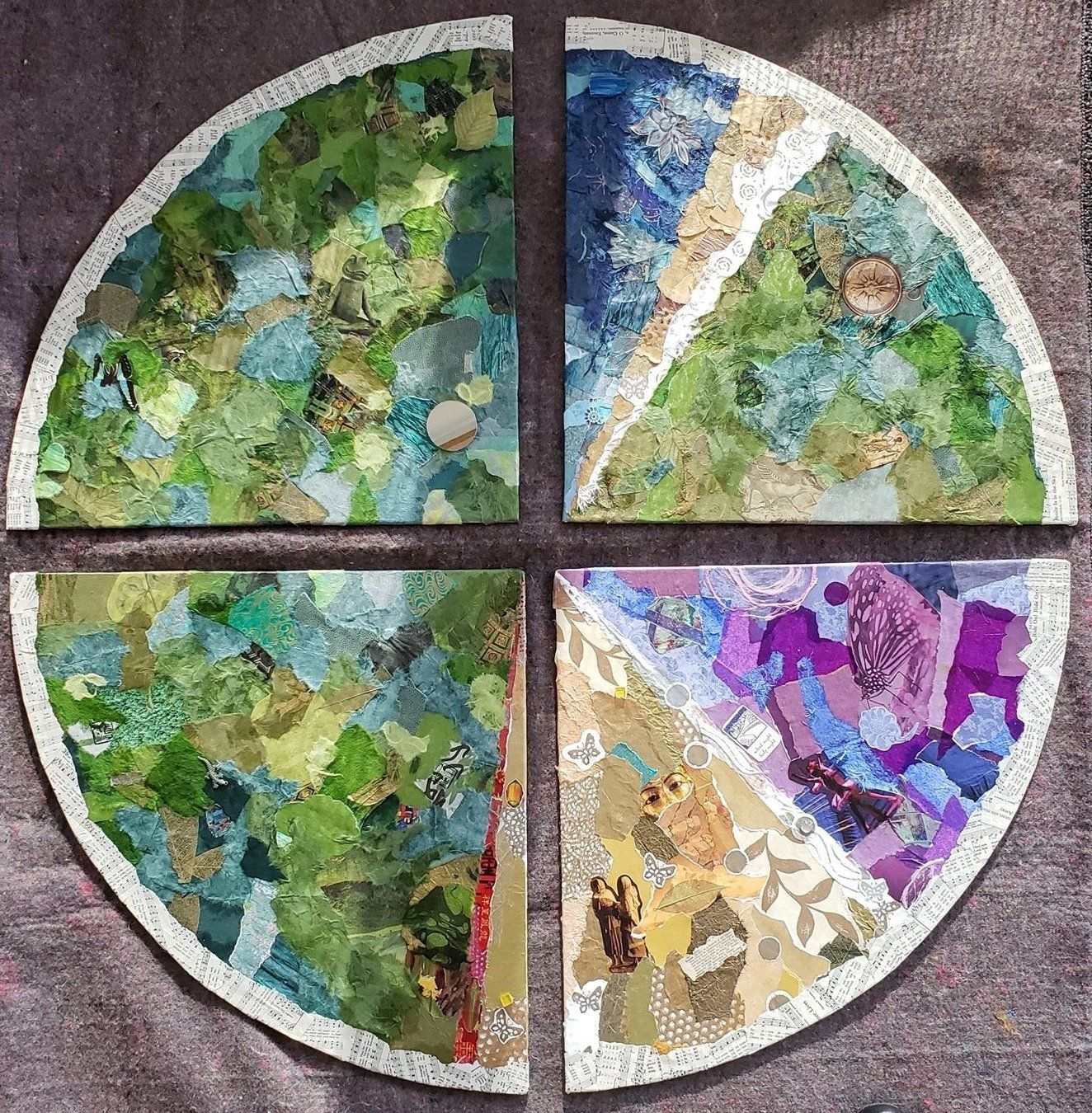 The Liturgical Seasons And Colors Of The Christian Year Decoupaged Onto Canvas. Clockwise From