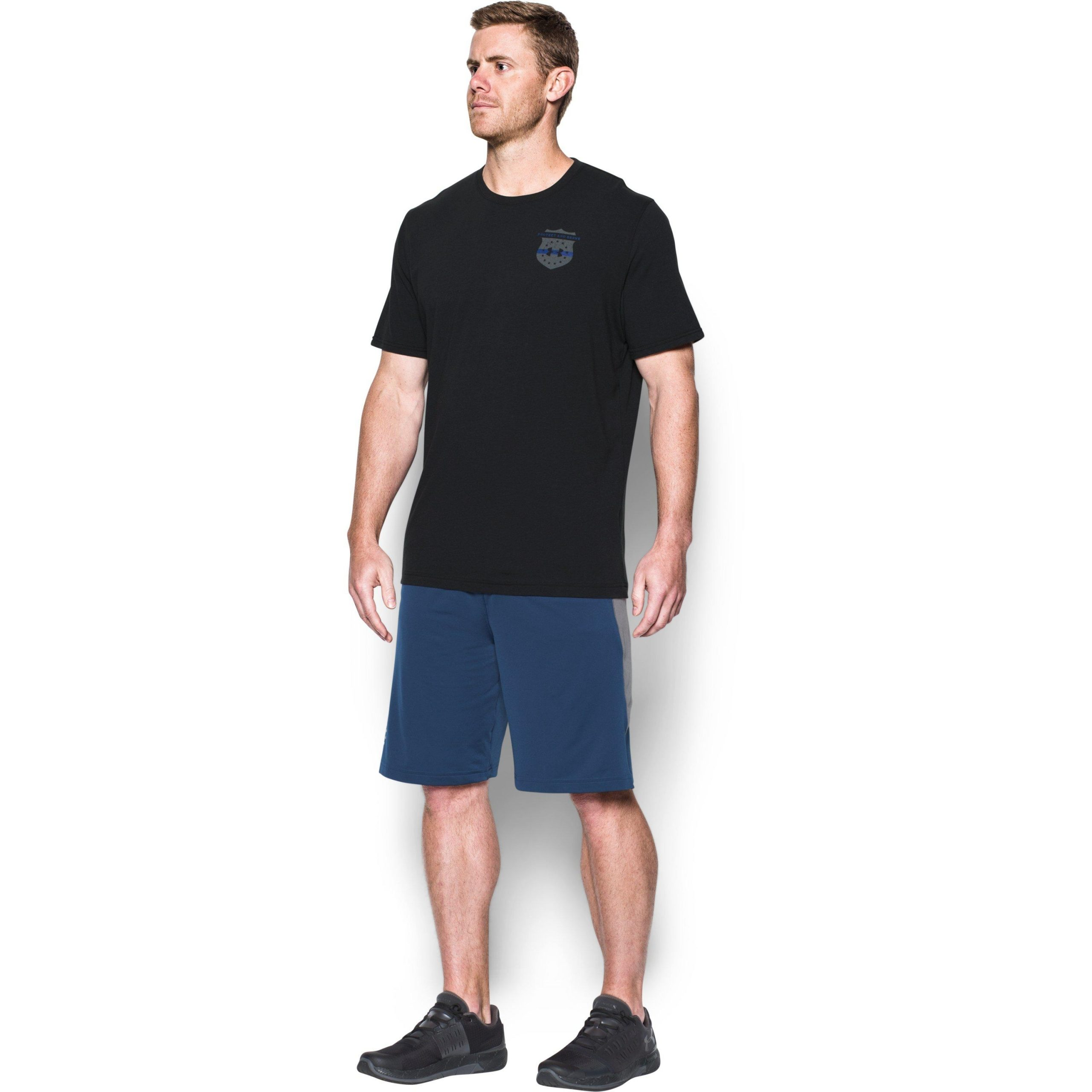 Under Armour Cotton Men'S Ua Freedom Thin Blue Line T-Shirt In Black For Men - Lyst