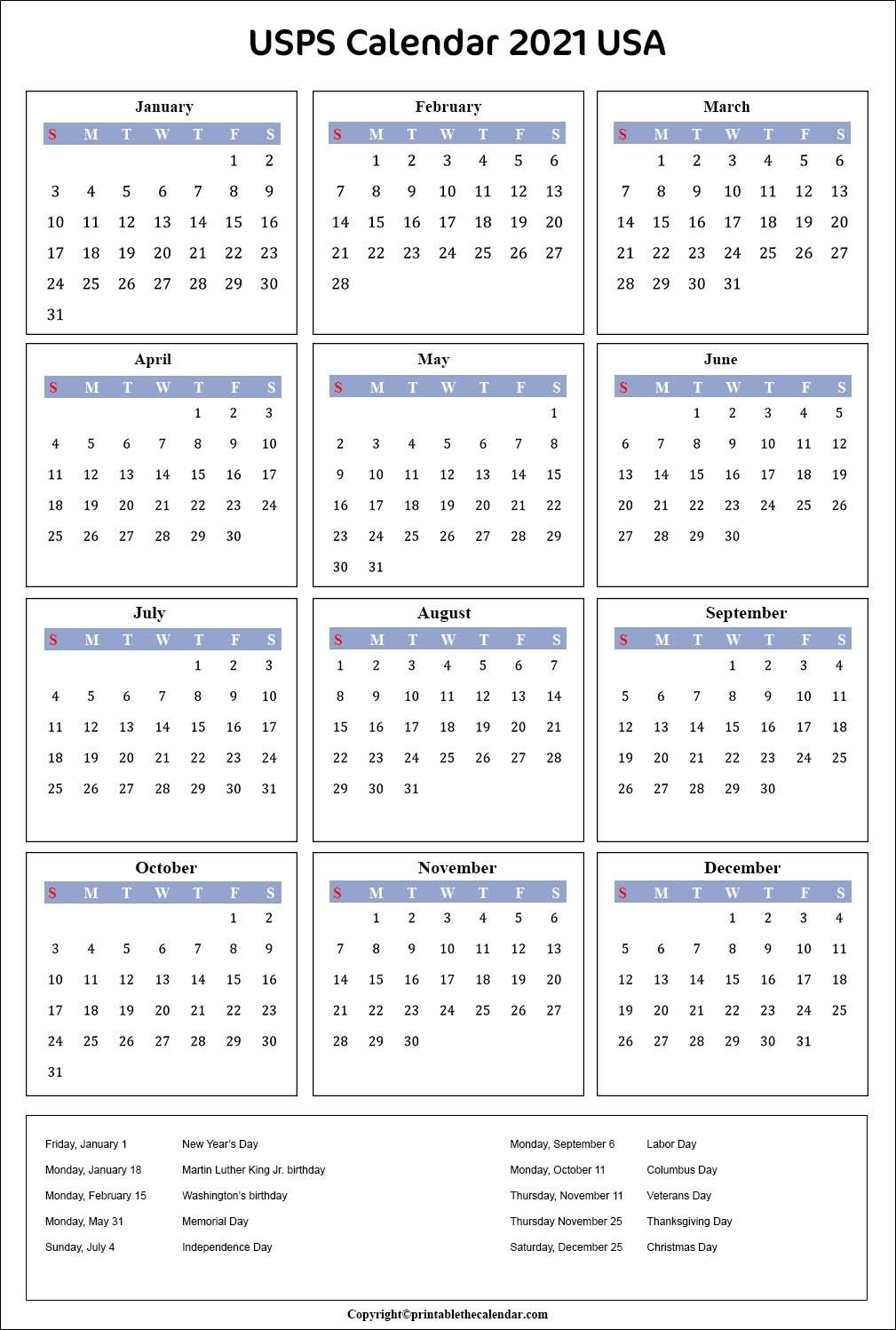 Usps Holidays 2021 Calendar - January 2021
