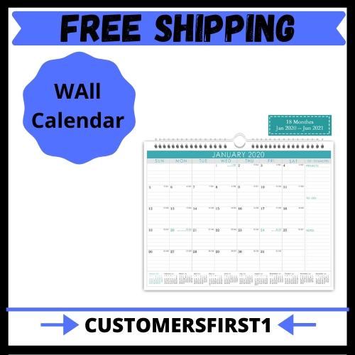 Wall Calendar Jan 2020- June 2021 Monthly Overview With Julian Date, 2020 | Ebay