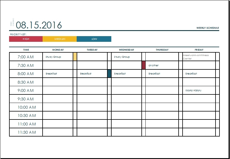 Week Schedule Template Excel - Printable Schedule Template