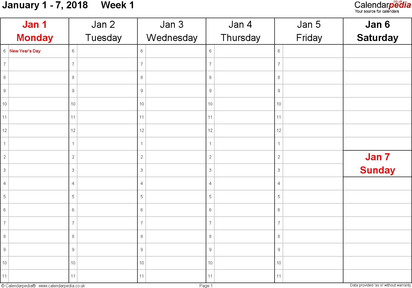Weekly Calendar 2018 Uk - Free Printable Templates For Pdf