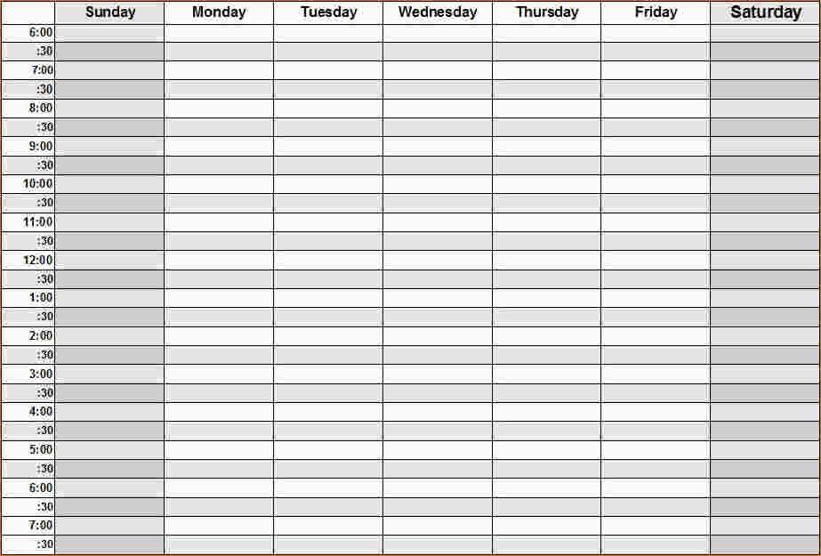Weekly Calendar By Hour - Printable Week Calendar