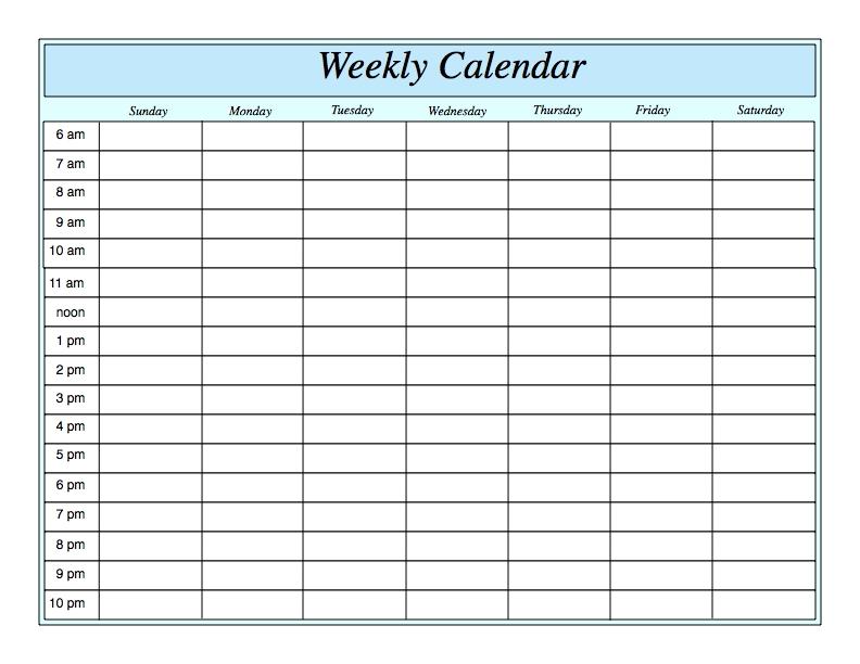 Weekly Calendar By Hour