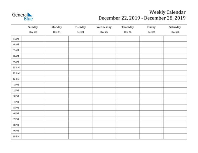 Weekly Calendar - December 22, 2019 To December 28, 2019 - (Pdf, Word, Excel)