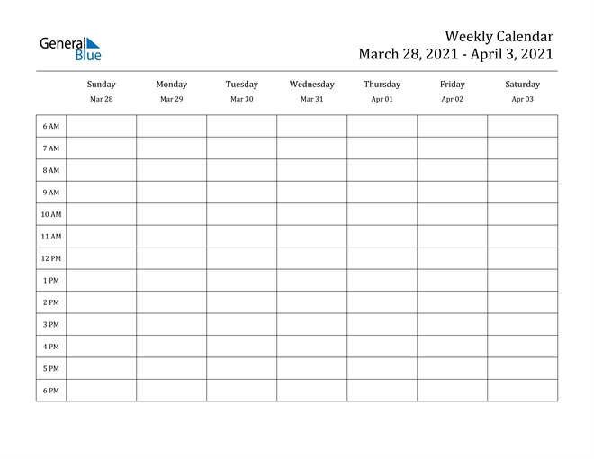 Weekly Calendar - March 28, 2021 To April 3, 2021 - (Pdf, Word, Excel)
