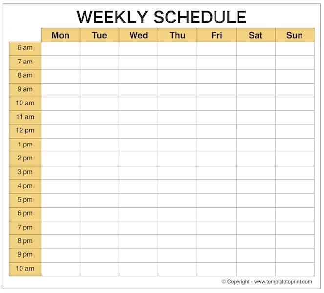 Weekly Calendar Schedule Maker
