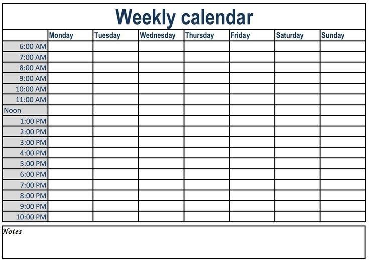Weekly Calendar With Time Slots #Weeklyplanner #Calendars #Template #Weeklycalendar | Weekly