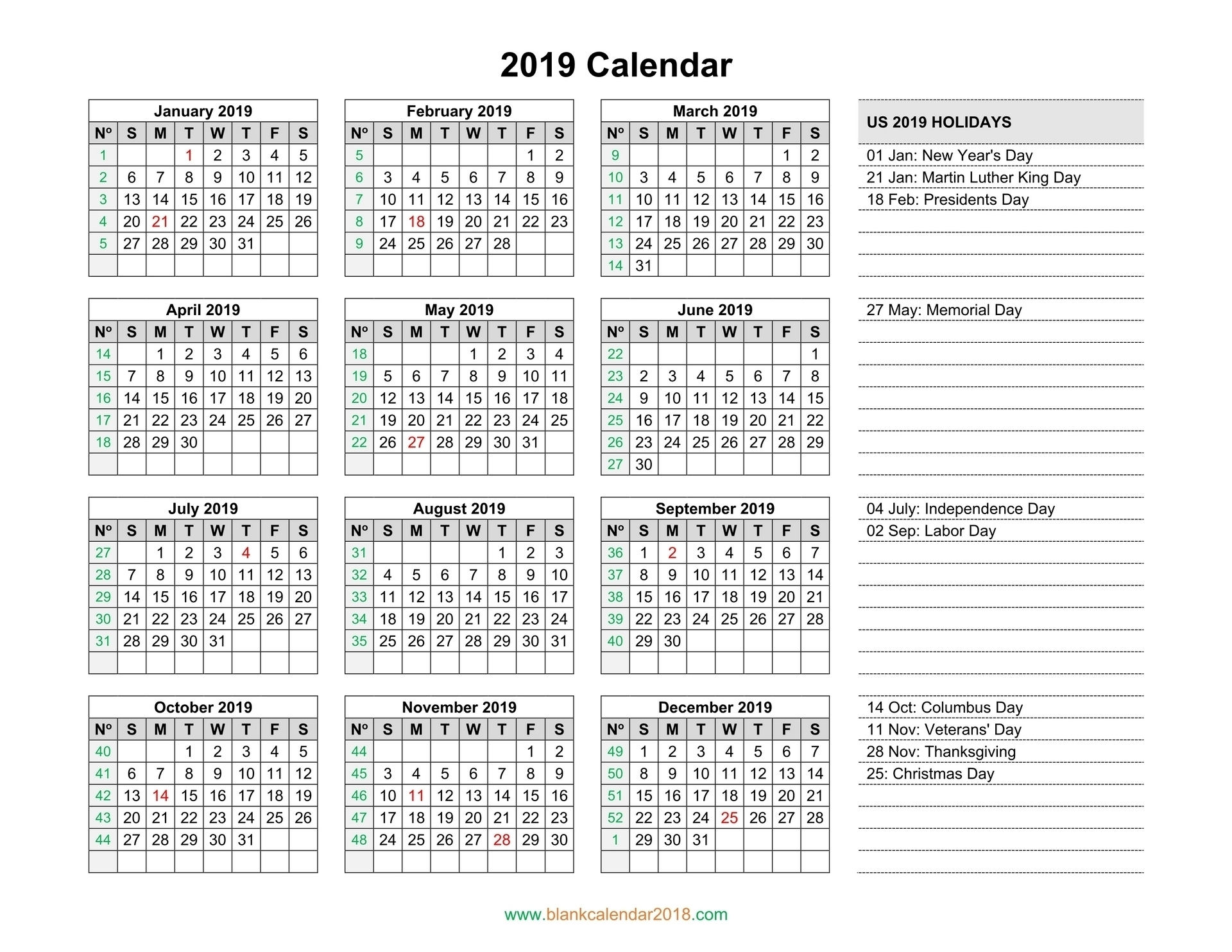 Year Calendar By Day Number | Month Calendar Printable