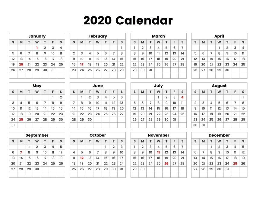 Free Printable 2020 Calendar - One Page Template | 12 Month Pertaining To 28 Day Multi Dose Vial