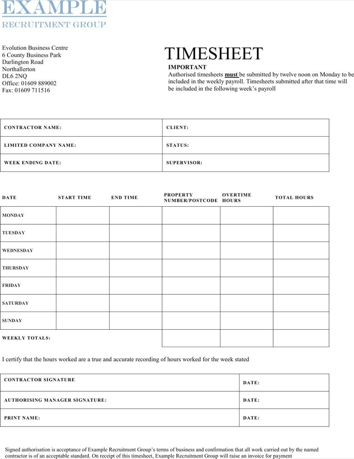 10+ Contractor Timesheet Templates Free Download
