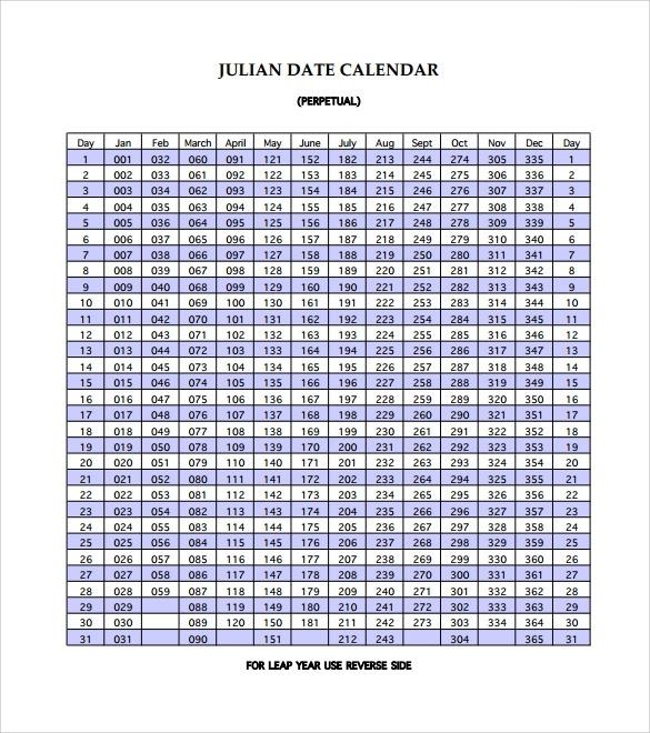 11 Sample Julian Calendar Templates To Download For Free | Sample Templates