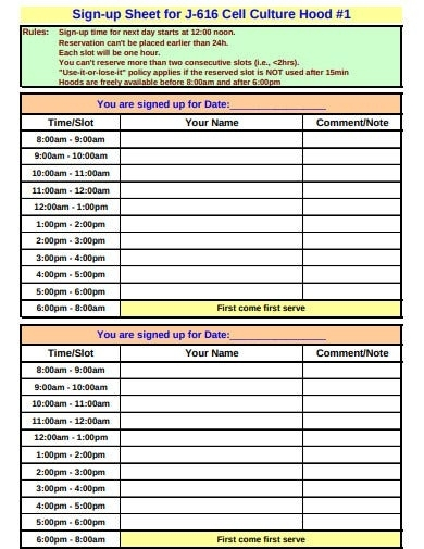 15+ Sign Up Sheet Templates In Google Docs   Google Sheets   Word   Excel   Pages   Numbers