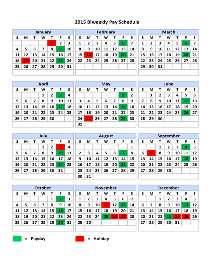 2015 Biweekly Pay Schedule Free Download