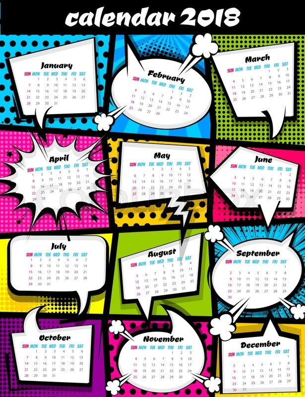 2018 Calendar Pop Art Template. Comic Book Colored Halftone Background, Funny Text Speech Bubble