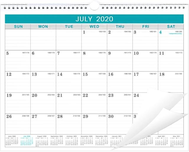 2020-2021 Calendar - 18 Months Wall Calendar With Julian Date, Thick Paper For & | Ebay