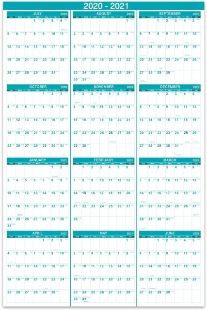 2020-2021 Yearly Wall Calendar - 2020-2021 Wall Calendar With Julian Date, July | Ebay