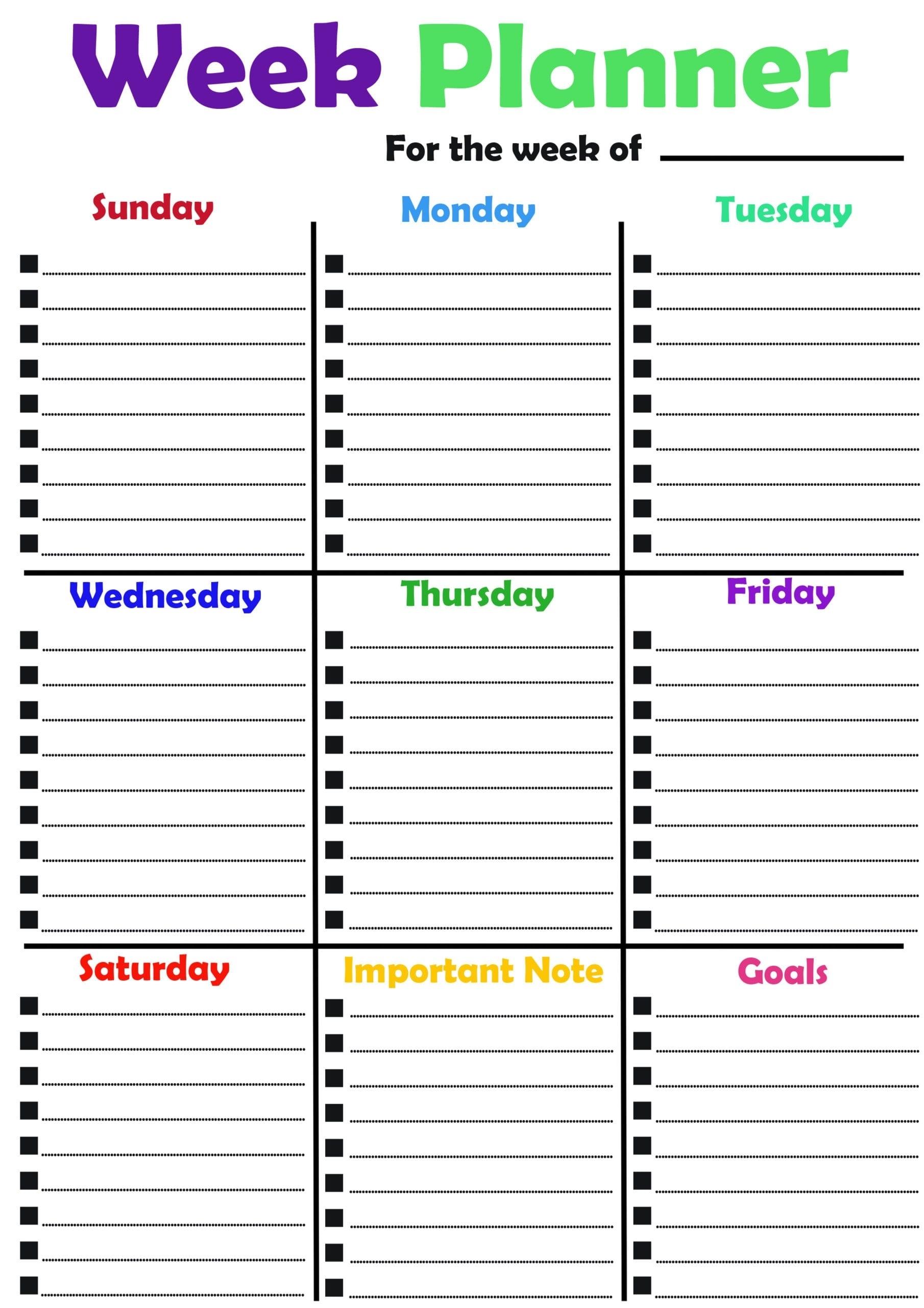2020 Free 20+ Printable Weekly Planner- Weekly Schedule Template Pdf