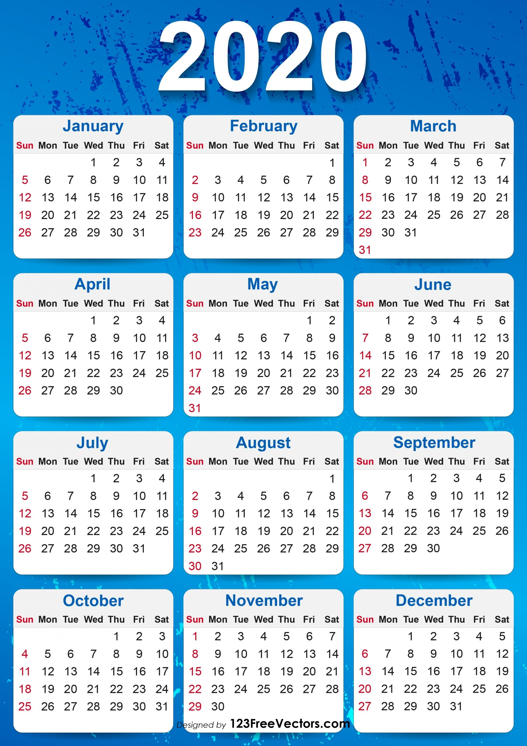 2020 Yearly Calendar Download Sunday Through Saturday | Calendar Template Printable Monthly Yearly