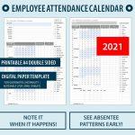 2021 Employee Attendance Calendar Pdf