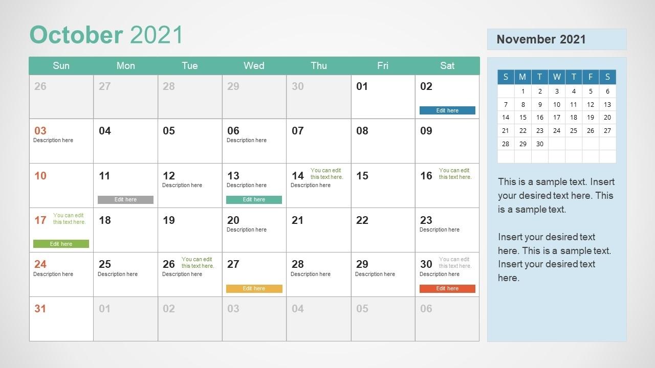 2021 Calendar Template October Powerpoint - Slidemodel
