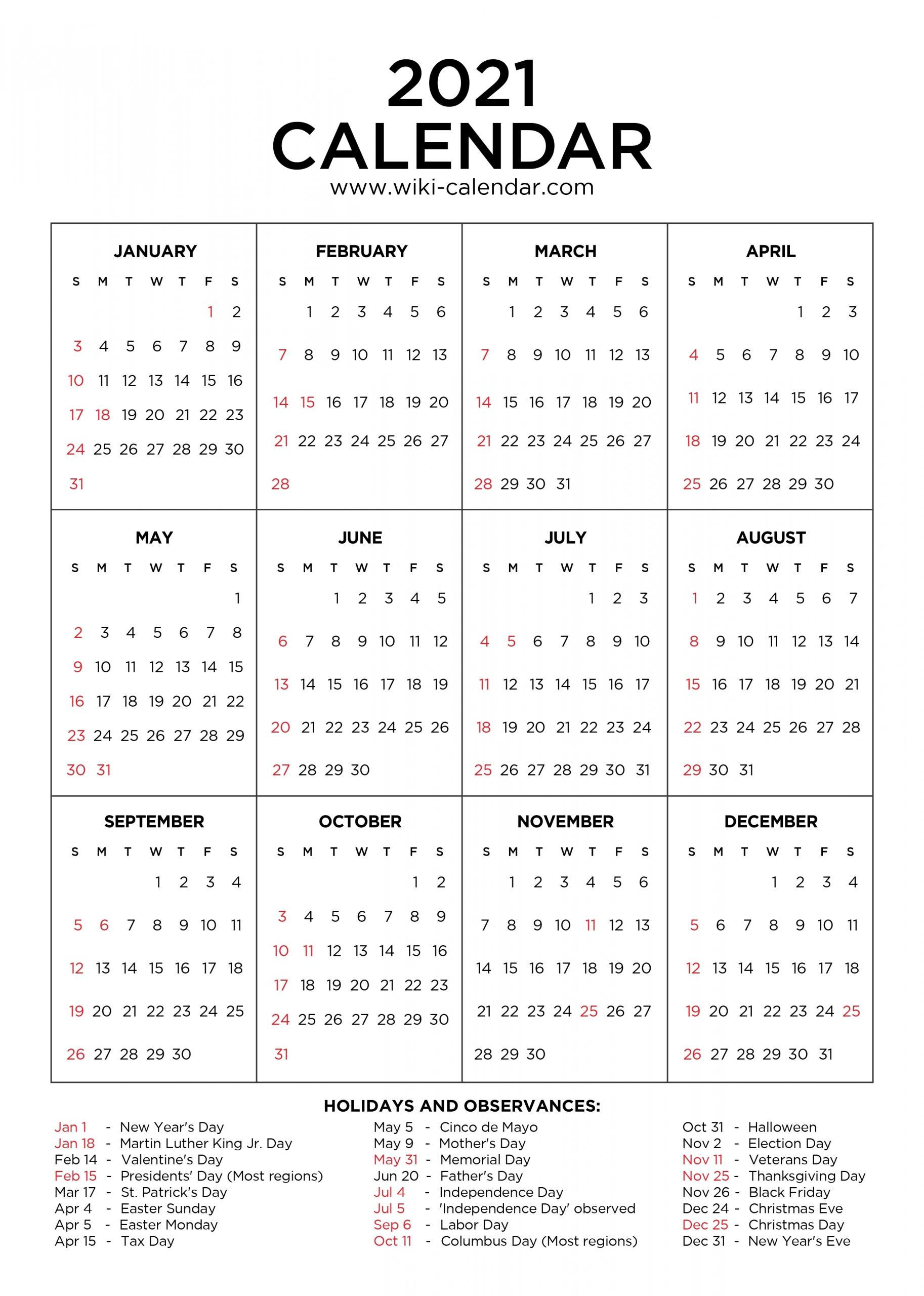 2021 Calendar With Holidays Printable   Calendar Template Printable