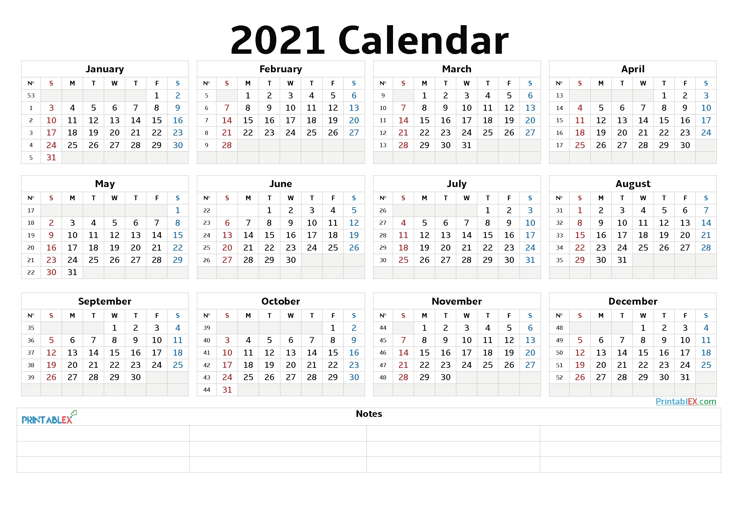 2021 Calendar With Week Number Printable Free / All You Have To Do Is Click On Save As Image