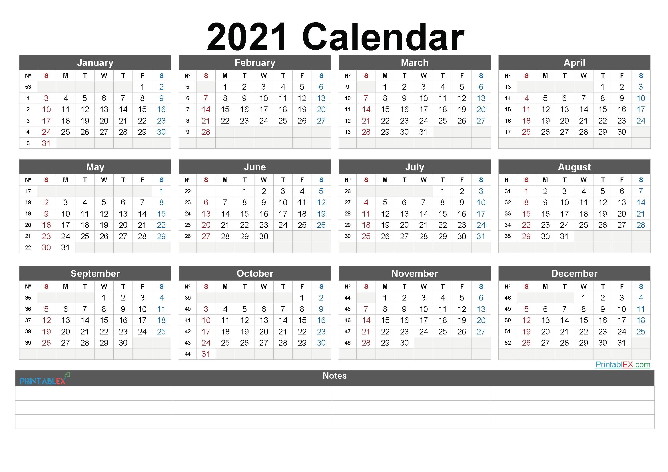 2021 Calendar With Week Numbers Philippines | Free Printable Calendar