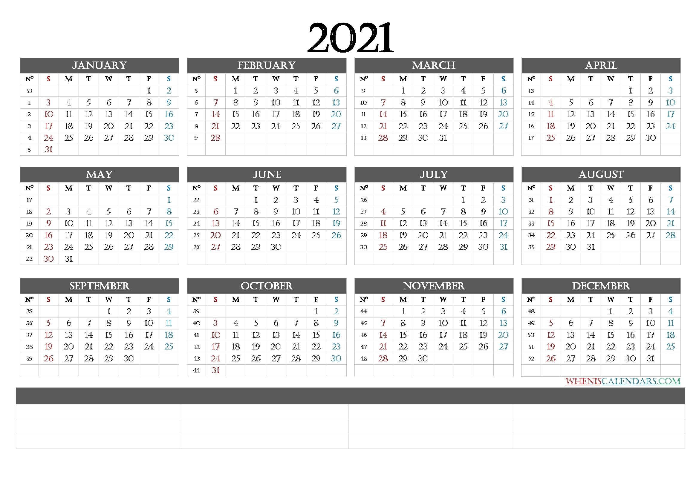 2021 Calendar With Week Numbers Printable (6 Templates) - Free Printable 2020 Monthly Calendar