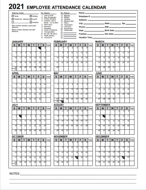 2021 Employee & Staff Attendance Record Calendar: Choose: Pdf, Cd, Or Paper. 📅 | Ebay